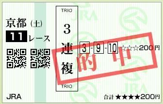 第3回 ラジオNIKKEI杯京都2歳ステークス(GⅢ)的中