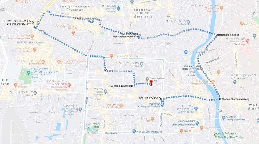チェンマイでのサイクリングマップ